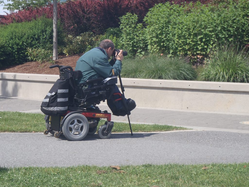 Photographer in wheelchair pointing camera at flowers